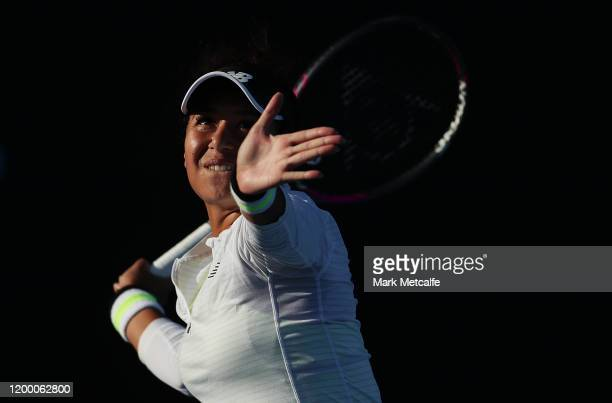 Heather Watson of Great Britain plays a forehand during her semi final singles match against Elena Rybakina of Kazakhstan during day seven of the...