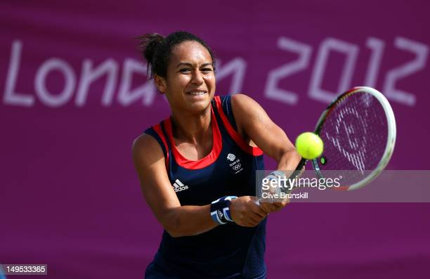 Heather Watson of Great Britain plays a forehand during the Women's Singles Tennis match against Silvia Soler Espinosa of Spain on Day 3 of the...