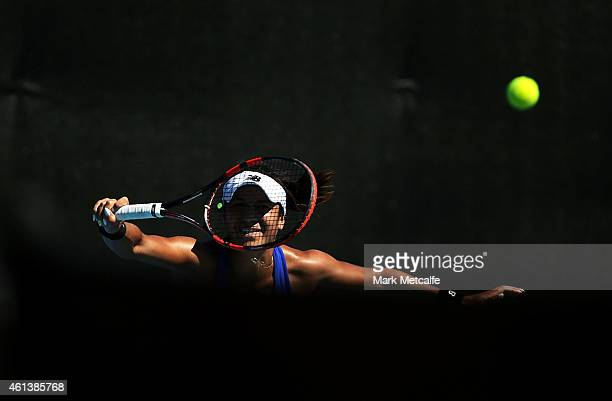 Heather Watson of Great Britain plays a forehand in her first round match against Magdelena Rybarikova of Slovakia during day two of the 2015 Hobart...