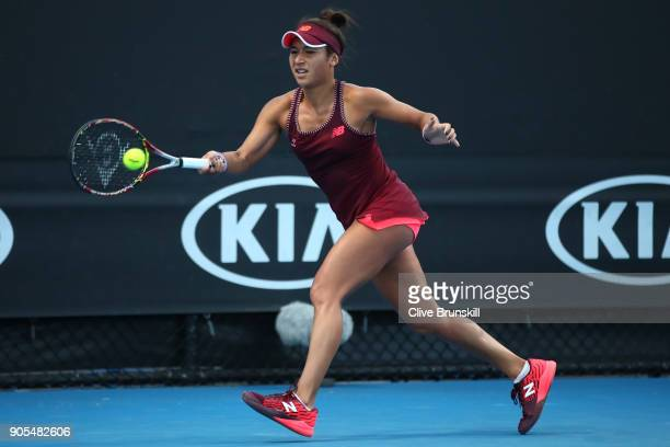 Heather Watson of Great Britain plays a forehand in her first round match against Yulia Putintseva of Kazakhstan on day two of the 2018 Australian...
