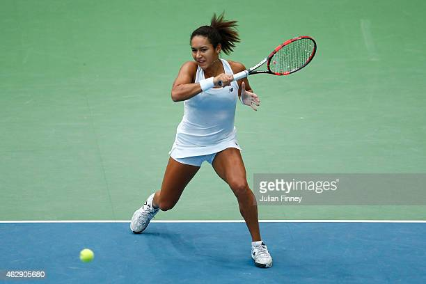 Heather Watson of Great Britain plays a forehand in her match against Victoria Azarenka of Belarus during day four of the Fed Cup/Africa Group One...