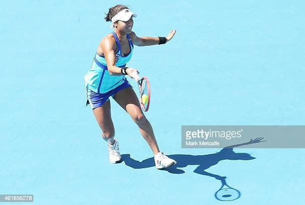 Heather Watson of Great Britain plays a forehand in her singles final match against Madison Brengle of the USA during day seven of the Hobart...