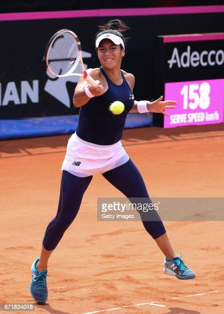 Heather Watson of Great Britain plays a forehand in her singles match against IrinaCamelia Begu of Romania during day 2 of the Fed Cup World Group II...