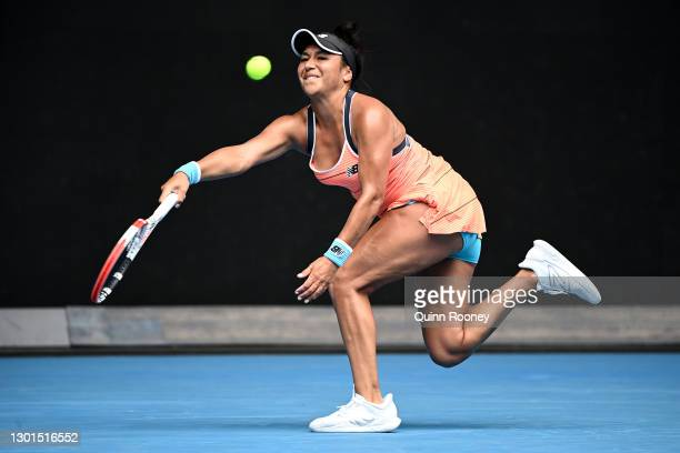 Heather Watson of Great Britain plays a forehand in her Women's Singles second round match against Anett Kontaveit of Estonia during day four of the...