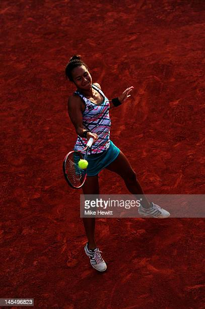 Heather Watson of Great Britain plays a forehand in her women's singles second round match against Julia Goerges of Germany during day 5 of the...