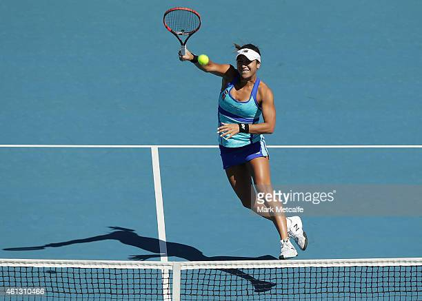 Heather Watson of Great Britain plays a forehand volley in in her first round doubles match with Ajia Tomljanovic of Croatia against Monique Adamczak...