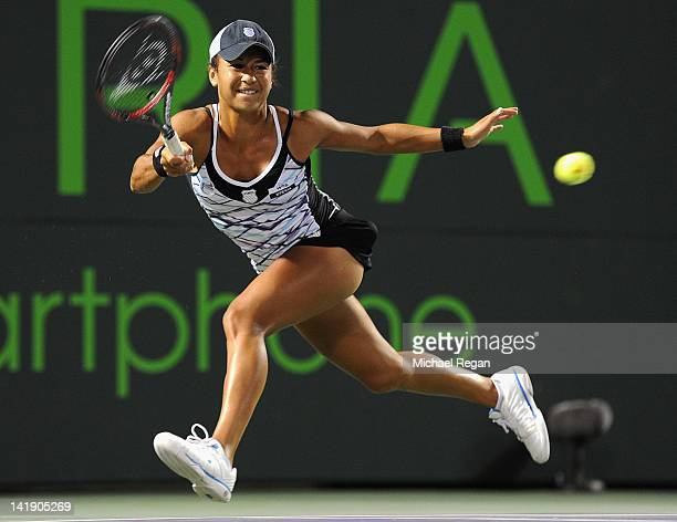 Heather Watson of Great Britain plays a shot during her match against Victoria Azarenka of Belarus during day 7 of the Sony Ericsson Open at Crandon...