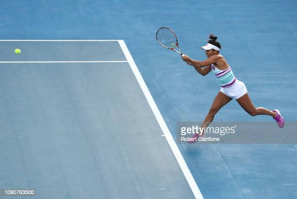 Heather Watson of Great Britain plays a shot during her singles match against IrinaCamelia Begu of Romania during day three of the 2019 Hobart...