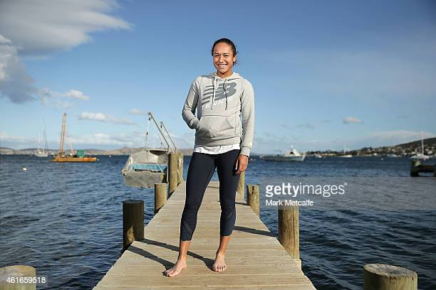 Heather Watson of Great Britain poses at Battery Point during day seven of the Hobart International at Domain Tennis Centre on January 17 2015 in...