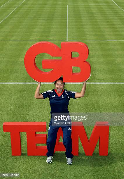 Heather Watson of Great Britain poses for a picture after an announcement of tennis athletes named in Team GB for the Rio 2016 Olympic Games at The...