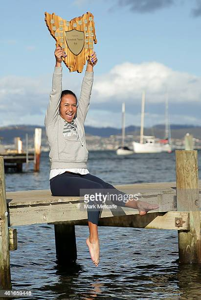 Heather Watson of Great Britain poses with the winners trophy at Battery Point during day seven of the Hobart International at Domain Tennis Centre...