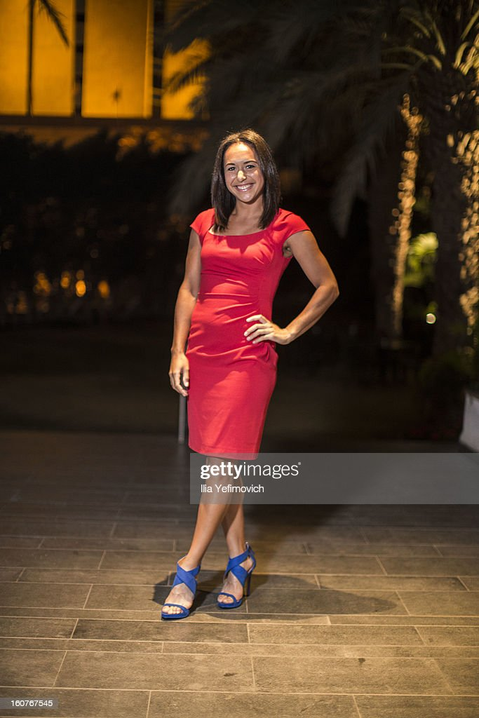 Heather Watson of Great Britain posing for a picture before the official team dinner ahead of the Fed Cup Group B matches in the Euro/Africa Zone Group 1 at the Sport Hotel on February 5, 2013 in Eilat, Israel.