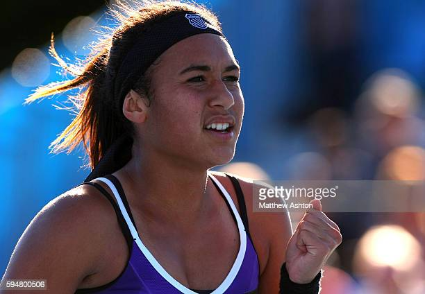 Heather Watson of Great Britain pumps her fist at the Australian Open 2013