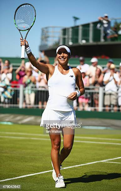 Heather Watson of Great Britain reacts after winning her Ladies Singles first round match against Caroline Garcia of France during day two of the...