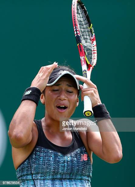 Heather Watson of Great Britain reacts during her first round match against Lesia Tsurenko of Ukraine on Day Four of the Nature Valley Classic at...