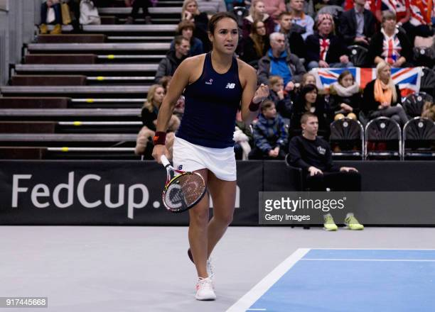 Heather Watson of Great Britain reacts during the Europe/Africa Group B match of the Fed Cup by BNP Paribas between Heather Watson of Great Britain...