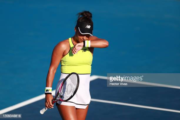 Heather Watson of Great Britain reacts during the singles match between Heather Watson of Great Britain and Xiyu Wang of China as part of the ATP...