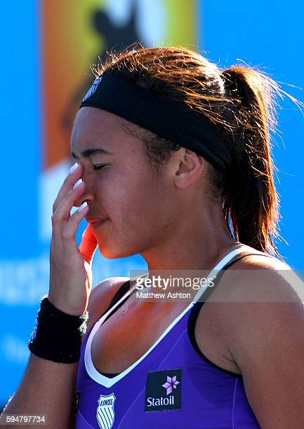 Heather Watson of Great Britain reacts in frustration at the Australian Open 2013