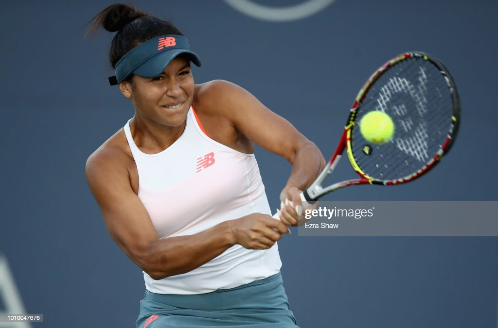 Heather Watson of Great Britain returns a shot to Venus Williams of the United States during Day 4 of the Mubadala Silicon Valley Classic at Spartan Tennis Complex on August 2, 2018 in San Jose, California.