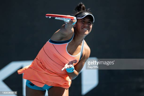 Heather Watson of Great Britain serves against Veronika Kudermetova of Russia during day one of the WTA 500 Grampians Trophy at Melbourne Park on...