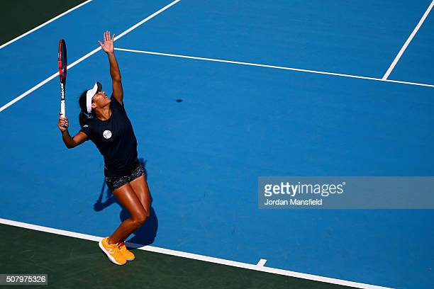 Heather Watson of Great Britain serves during a practice session ahead of the start of the Fed Cup at the Municipal Tennis Club on February 2 2016 in...