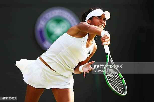 Heather Watson of Great Britain serves during her Ladies Singles Second Round match against Daniela Hantuchova of Slovakia during day three of the...