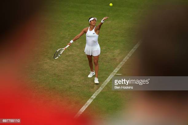 Heather Watson of Great Britain serves during the first round match against Elina Svitolina of Ukraine on day 1 of the Aegon Classic Birmingham at...