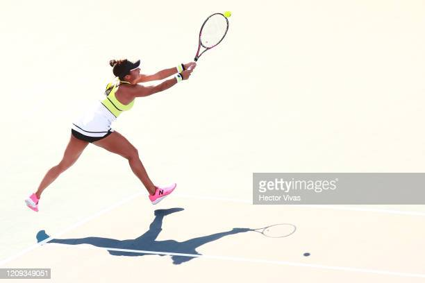 Heather Watson of Great Britain serves during the singles match between Heather Watson of Great Britain and Xiyu Wang of China as part of the ATP...