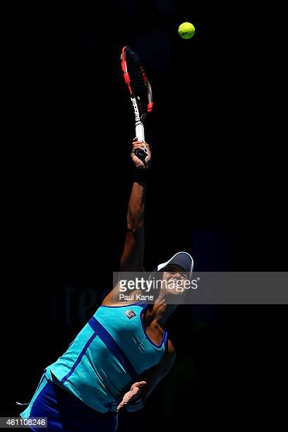 Heather Watson of Great Britain serves in her match against Agnieszka Radwanska of Poland during day four of the 2015 Hopman Cup at Perth Arena on...