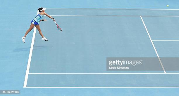 Heather Watson of Great Britain serves in her semi final match against Alison Riske of the USA during day six of the 2015 Hobart International at...