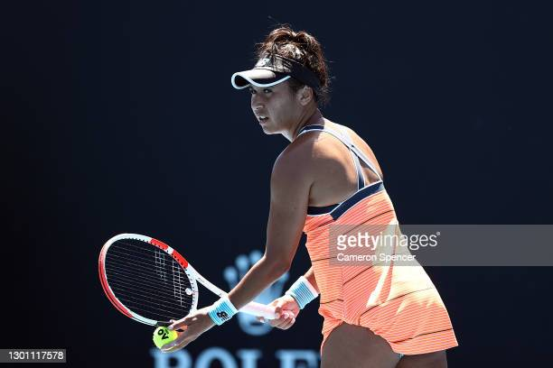 Heather Watson of Great Britain serves in her Women's Singles first round match against Kristyna Pliskova of Czech Republic during day two of the...