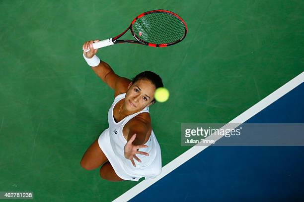 Heather Watson of Great Britain serves to Cagla Buyukakcay of Turkey during day two of the Fed Cup/Africa Group One tennis at Syma Event and Congress...