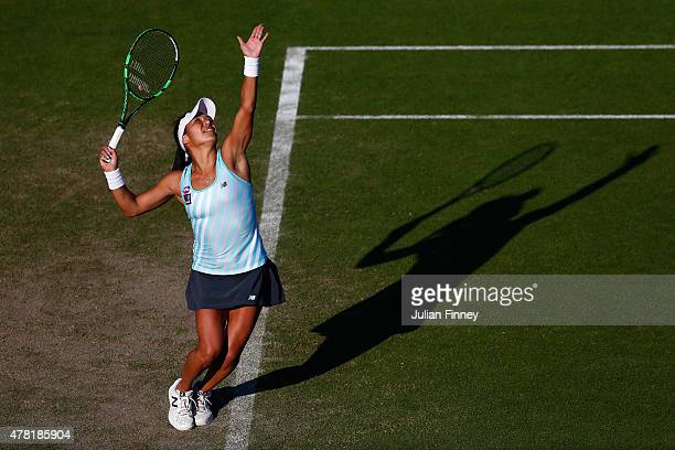Heather Watson of Great Britain serves to Elina Svitolina of Ukraine during the Aegon International day three at Devonshire Park on June 23 2015 in...