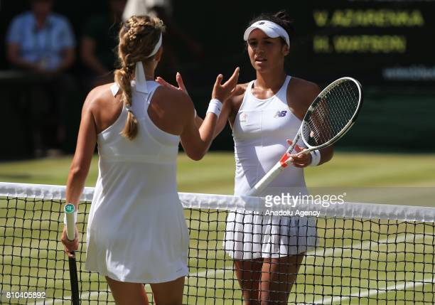 Heather Watson of Great Britain shakes hands with Victoria Azarenka of Belarus after beating her on day five of the 2017 Wimbledon Championships at...