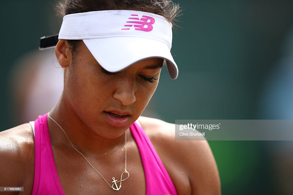 Heather Watson of Great Britain shows her dejection against Simona Halep of Romania in their fourth round match during the Miami Open Presented by Itau at Crandon Park Tennis Center on March 28, 2016 in Key Biscayne, Florida.