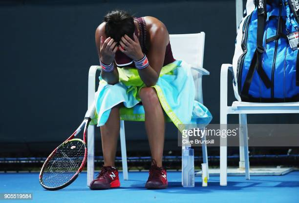 Heather Watson of Great Britain shows her dejection in her first round match against Yulia Putintseva of Kazakhstan on day two of the 2018 Australian...