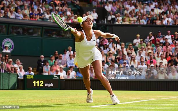 Heather Watson of Great Britain stretches for a forehand in in her Ladies' Singles Third Round match against Serena Williams of the United States...