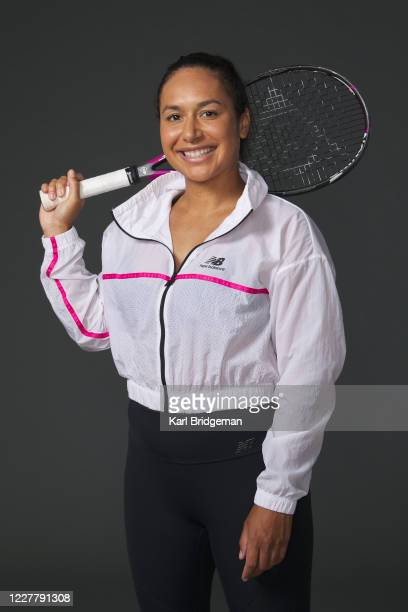 Heather Watson poses for a portrait prior to the St. James's Place Battle of the Brits Team Tennis at National Tennis Centre on July 26, 2020 in...