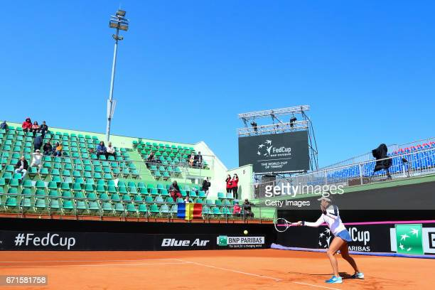 Heather Watson warms up ahead of the Fed Cup World Group II Play Off match between Great Britain and Romania on April 22 2017 in Constanta Romania on...