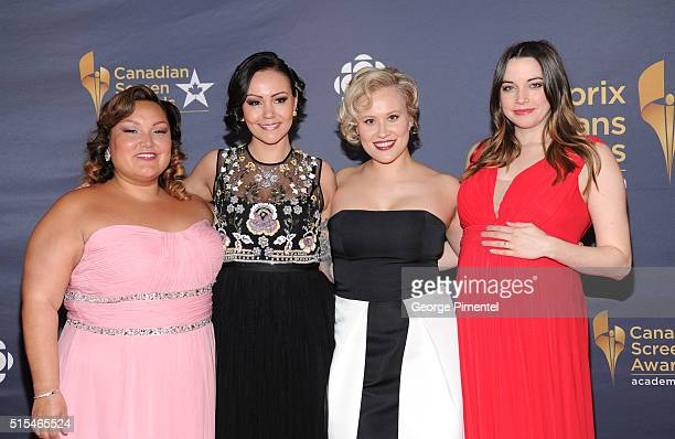 Heather White Maika Harper Brittany LeBorgne and Jennifer Pudavick arrive at the 2016 Canadian Screen Awards at the Sony Centre for the Performing...