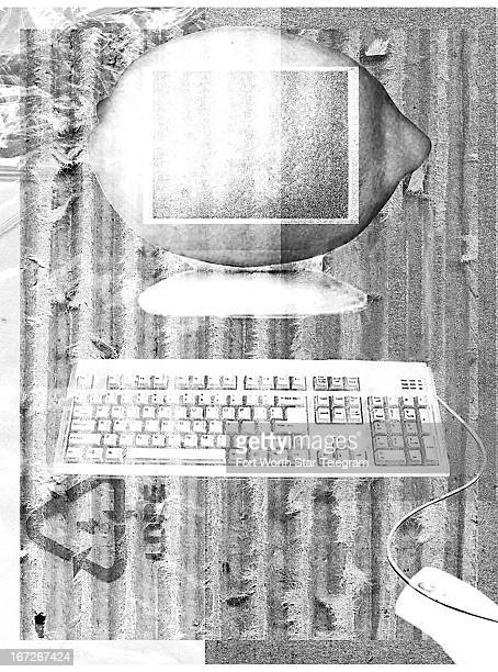 Heather Witherspoon blackandwhite illustration of a computer with a lemon as its monitor for use with stories on buying a computer that is a lemon
