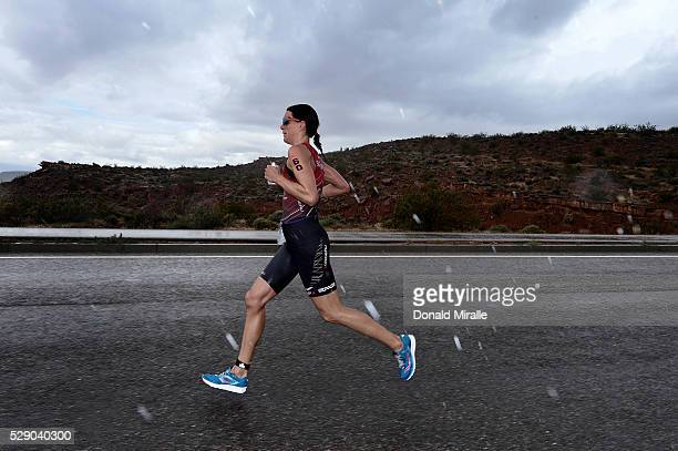 Heather Wurtele runs en route to the Women's victory during the St. George Ironman 70.3 North American Pro Championships on May 7, 2016 in St....