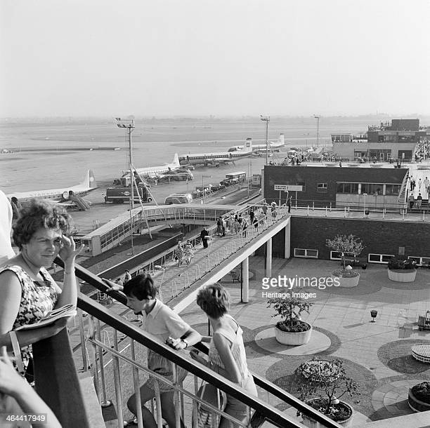 Heathrow Airport Greater London 19551965 A view of Heathrow Airport's southerly runways viewed from the spectators' terrace near the Queen's Building