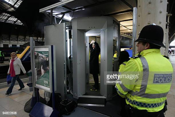 Heathrow Express body scanners are tested at Paddington station in West London England Wednesday January 11 ahead of the start of a fourweek trial...