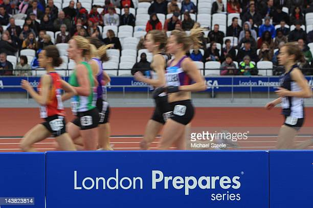 Heats of the women's 5000m during day one of the BUCS VISA Athletics Championships 2012 LOCOG Test Event for London 2012 at the Olympic Stadium on...