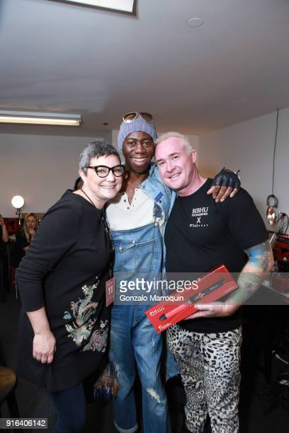 Heat's VP of Global Communications Tracie MayWagner J Alexander and FHI Heat's Artistic Director Sean James backstage during the FHI Heat X Bibhu...