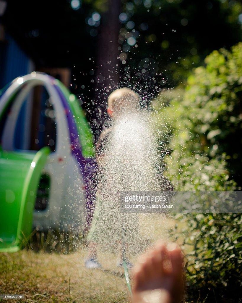 Heatwave - Watering the Garden : Stock Photo
