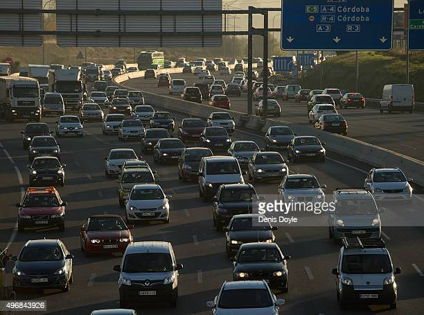 Heave traffic is seen after Madrid City Council reduced the speed limit on roads approaching and around the Spanish capitall to 70km per hour on...