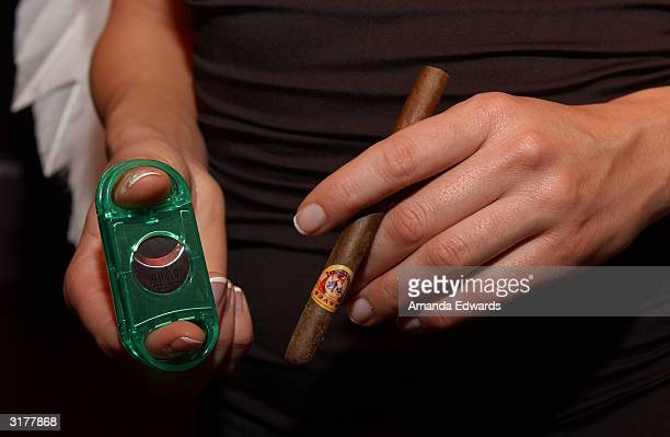 Heaven Cigar model poses with a cigar and cutter at the ABC 'My Wife and Kids' Party on March 28 2004 at Bliss in West Hollywood California