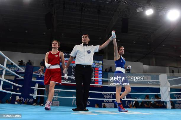 Heaven Destiny Garcia of united States defeats Goryana Stoeva of Bulgaria Women's Fly Bronze Medal Bout during day 12 of Buenos Aires 2018 Youth...